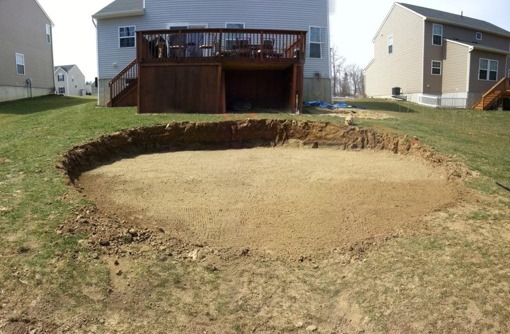 sloped yard Above Ground Pool Deck Kits | inground pool on ~15-18 ...