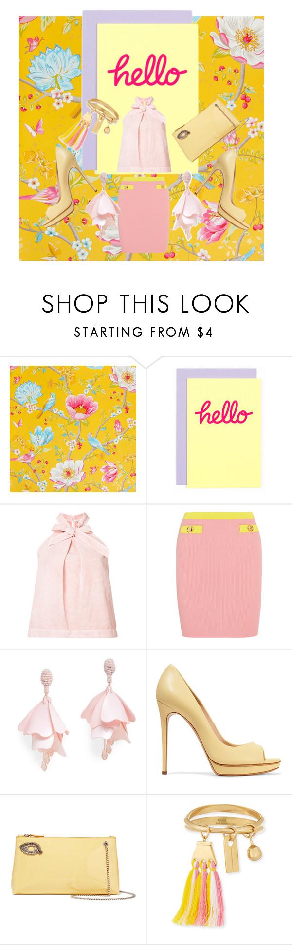 """Hello"" by dudettelucy on Polyvore featuring PiP Studio, Berylune, Ulla Johnson, Boutique Moschino, Oscar de la Renta Pink Label, Casadei, Rochas, Chloé, Spring and prettyinpink"
