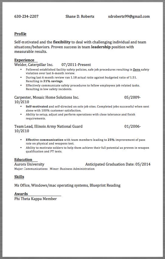 Sample Resume Welder 630 234 2207 Shane D. Roberts Sdroberts99@gmail.  Gmail Resume