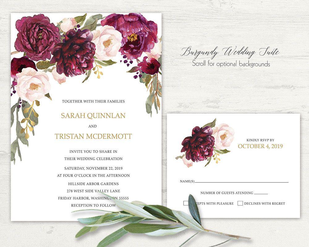 Romantic Fall Wedding Invitation Navy Burgundy Wine Blush Roses Gold ...