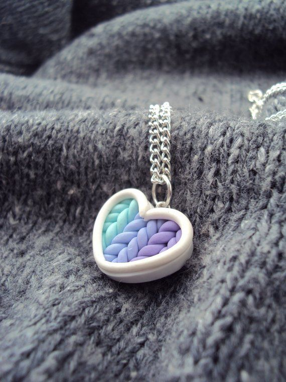 Ombre Teal Purple Knitted Heart Necklace Polymer Clay, Miniature Clay Jewelry, Silver Plated Chain #thingstowear