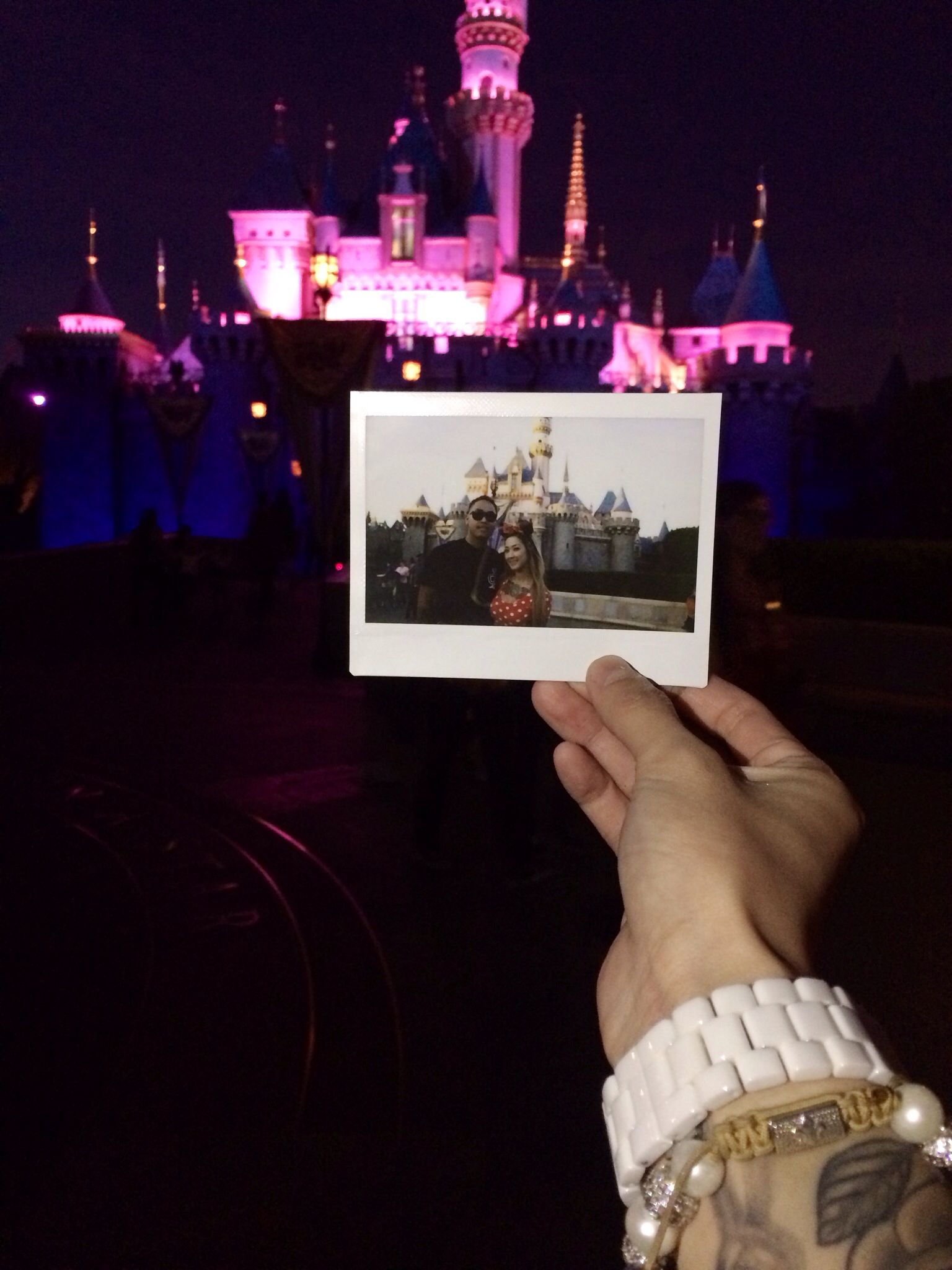 day and night time at disneyland with my boyfriend. #polaroid