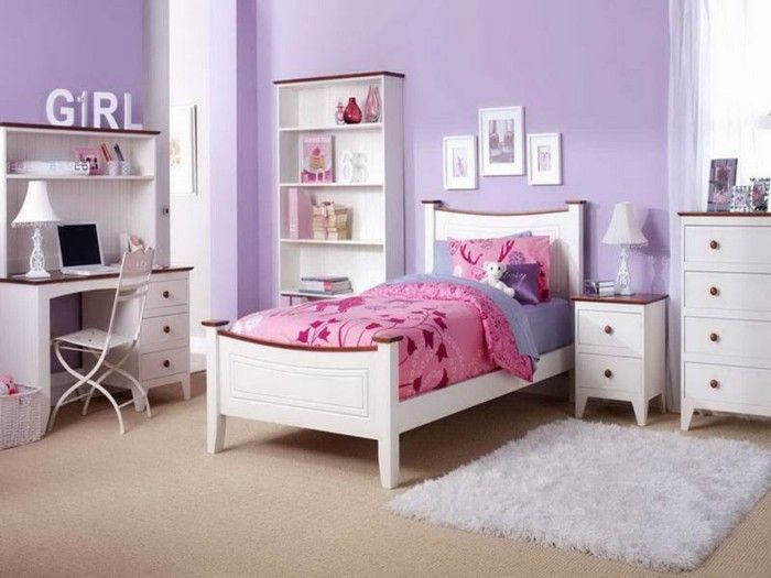 Pretty Teenage Girl Bedroom With Pink Floral Bedding On Single Bed And Purple  Wall Paint Also White Furnitures And Fur Rug On Brown Carpet Floor Idea
