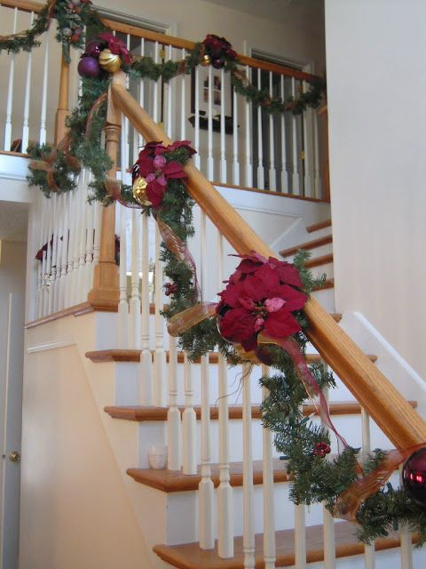 Swagged Christmas Stair Decoration