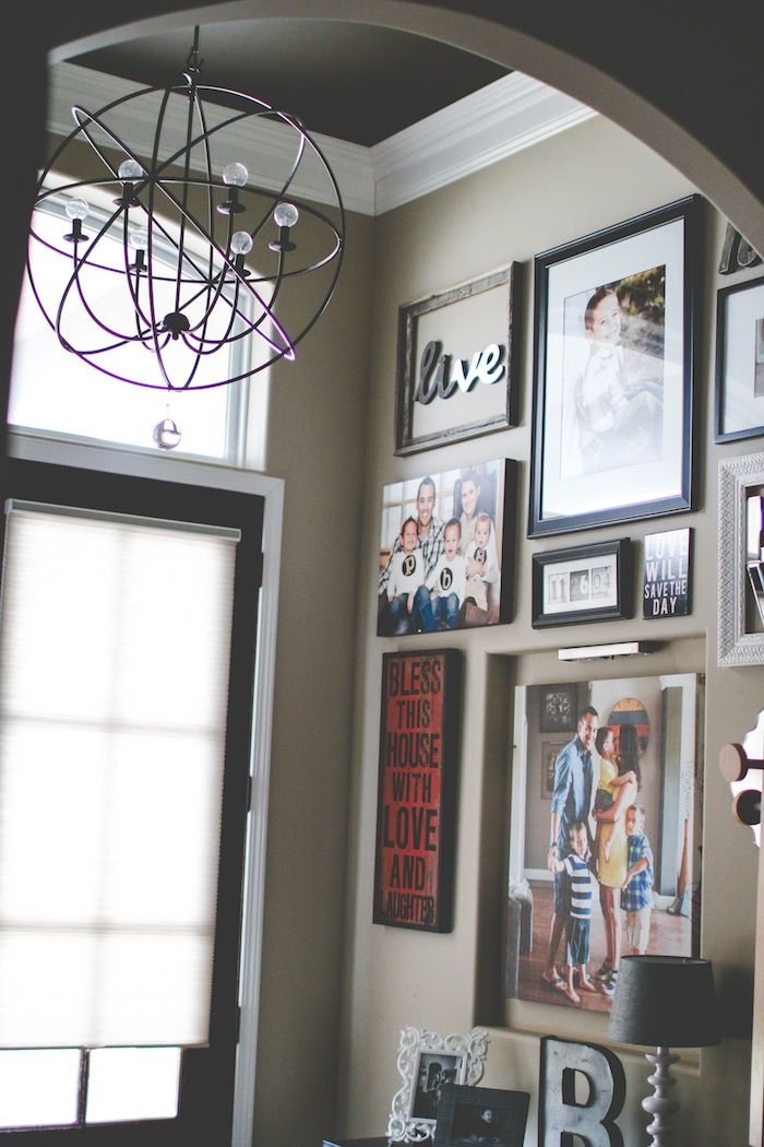Entryway gallery wall from wall - How to decorate tall walls ...