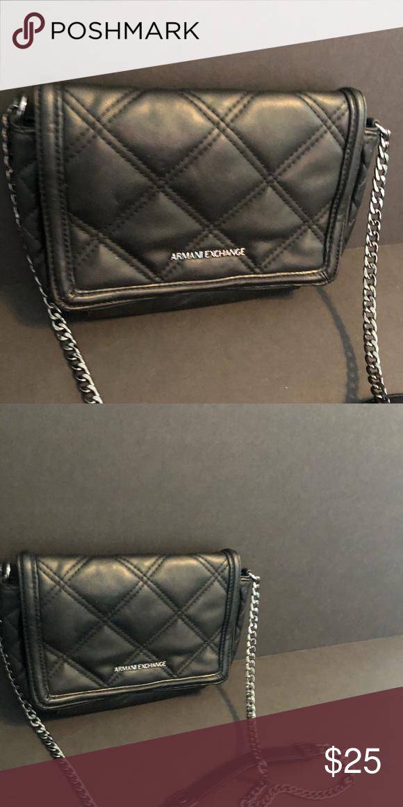 8408983c Black Small Crossbody Armani Exchange Authentic Faux Leather Good ...
