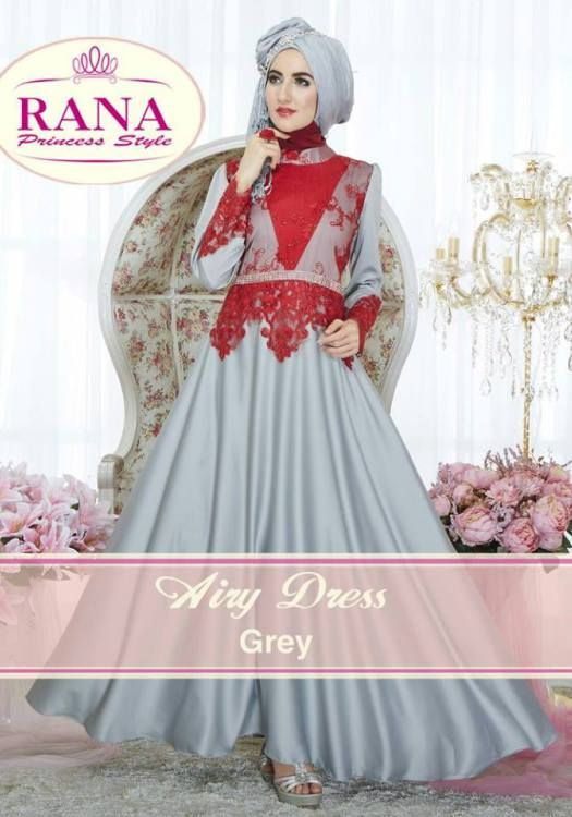 Airy Dress Grey Baju Brokat Muslim Kombinasi Satin Silk  9d9d281d59