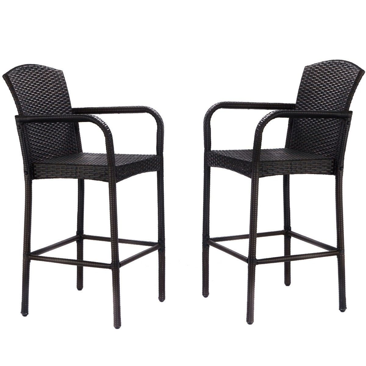 2 pcs Rattan Bar Stool Set High Chairs | Pinterest