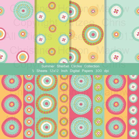 sherbet colors circle patterns 12 x 12 inch digital download