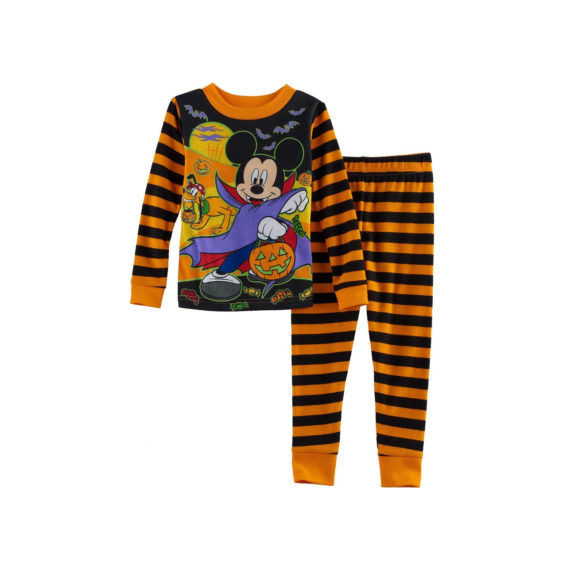 80a23d622fe45 Disney's Mickey Mouse Toddler Boy Striped Halloween Glow in the Dark ...