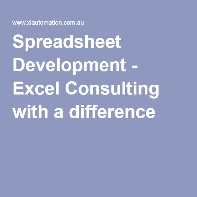 Spreadsheet Development - Excel Consulting with a difference www