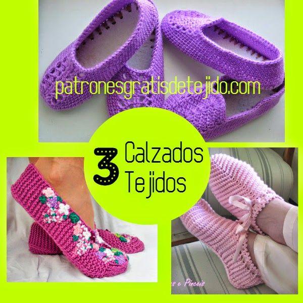 3 patrones de calzado tejido a crochet y dos agujas | Slippers ...