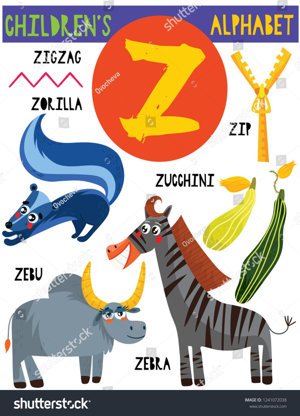 Letter Z Cute Children S Alphabet With Adorable Animals And Other