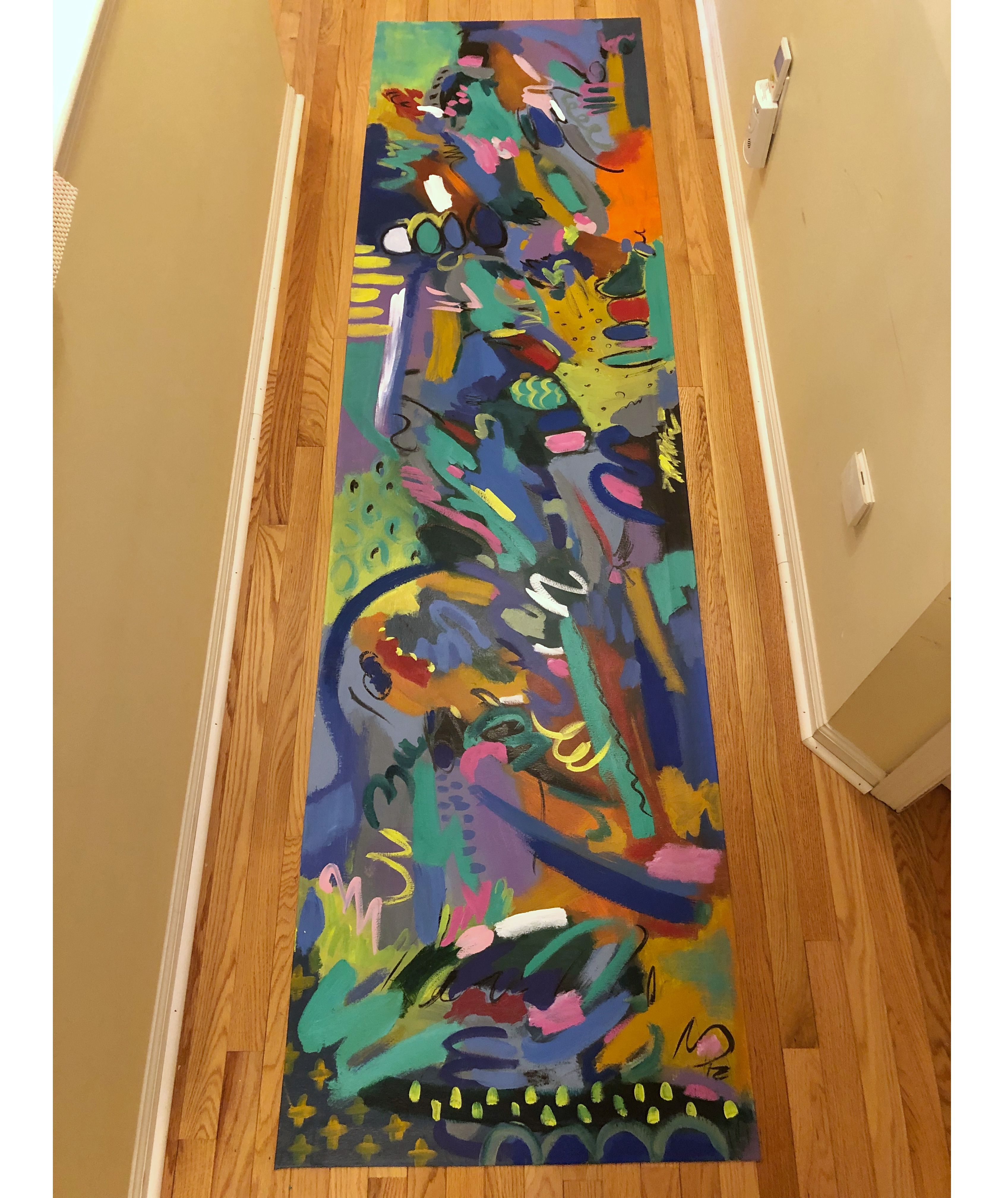 Abstract Colorful Floorcloth Hand Painted Canvas Traditional