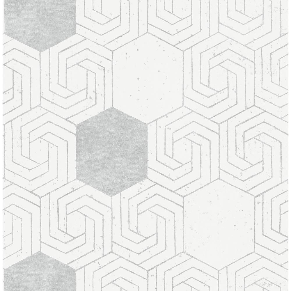 A-Street Momentum Off-White Geometric Wallpaper Sample