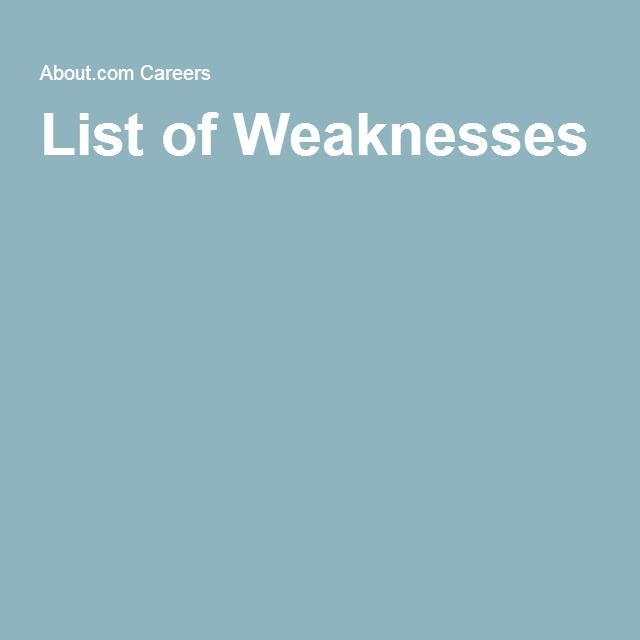 list of weakness for job interview