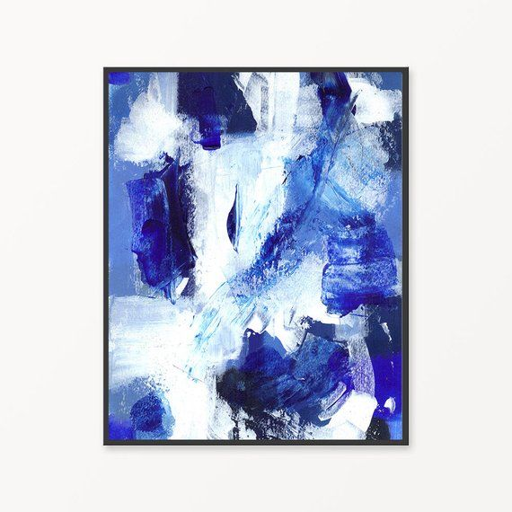 Cobalt blue abstract instant download painting, blue