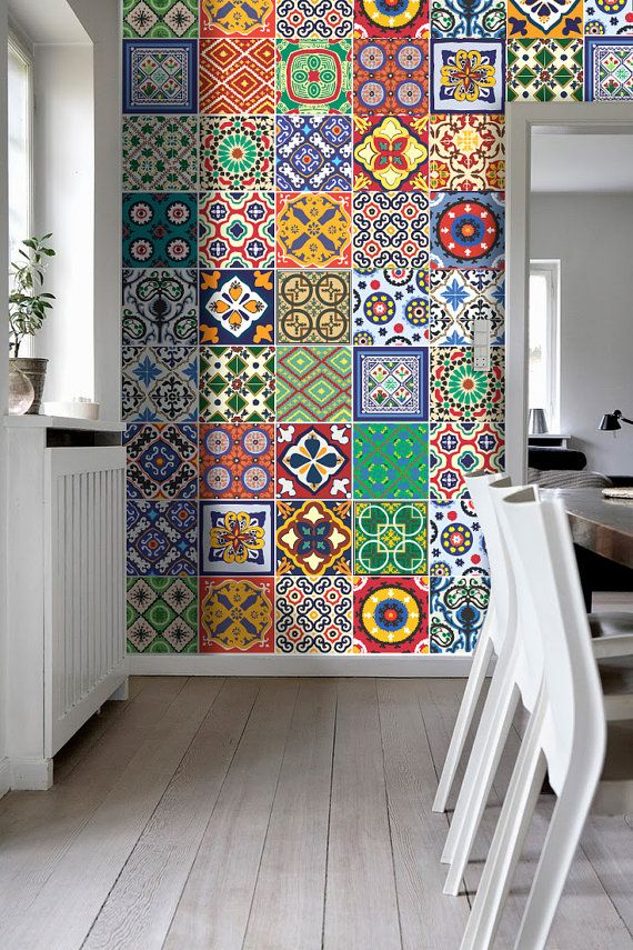 Talavera tile stickers kitchen backsplash tiles for Pegatinas para muebles