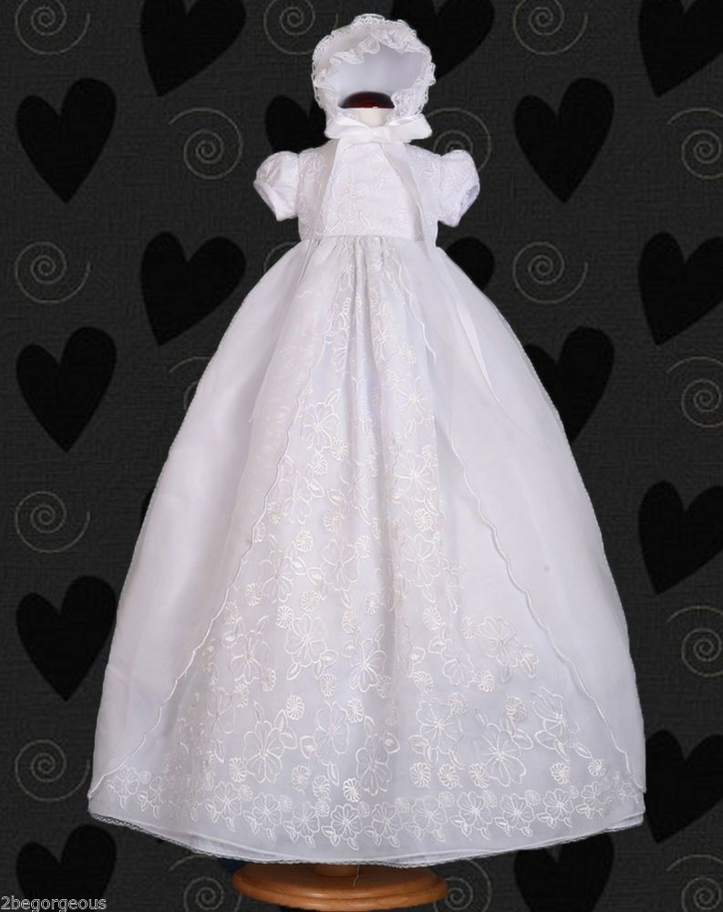 Embroidery lace baby baptism christening long gown dress bonnet robe