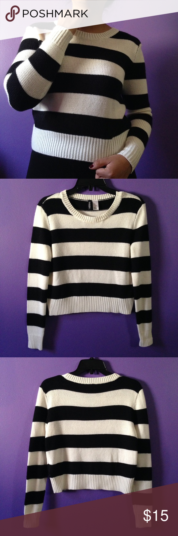Striped Knit Pullover This sweater has a semi cropped fit and it also a bit tight on the arms. Worn only twice & has no stains or rips. The color is more cream than white H&M Sweaters Crew & Scoop Necks