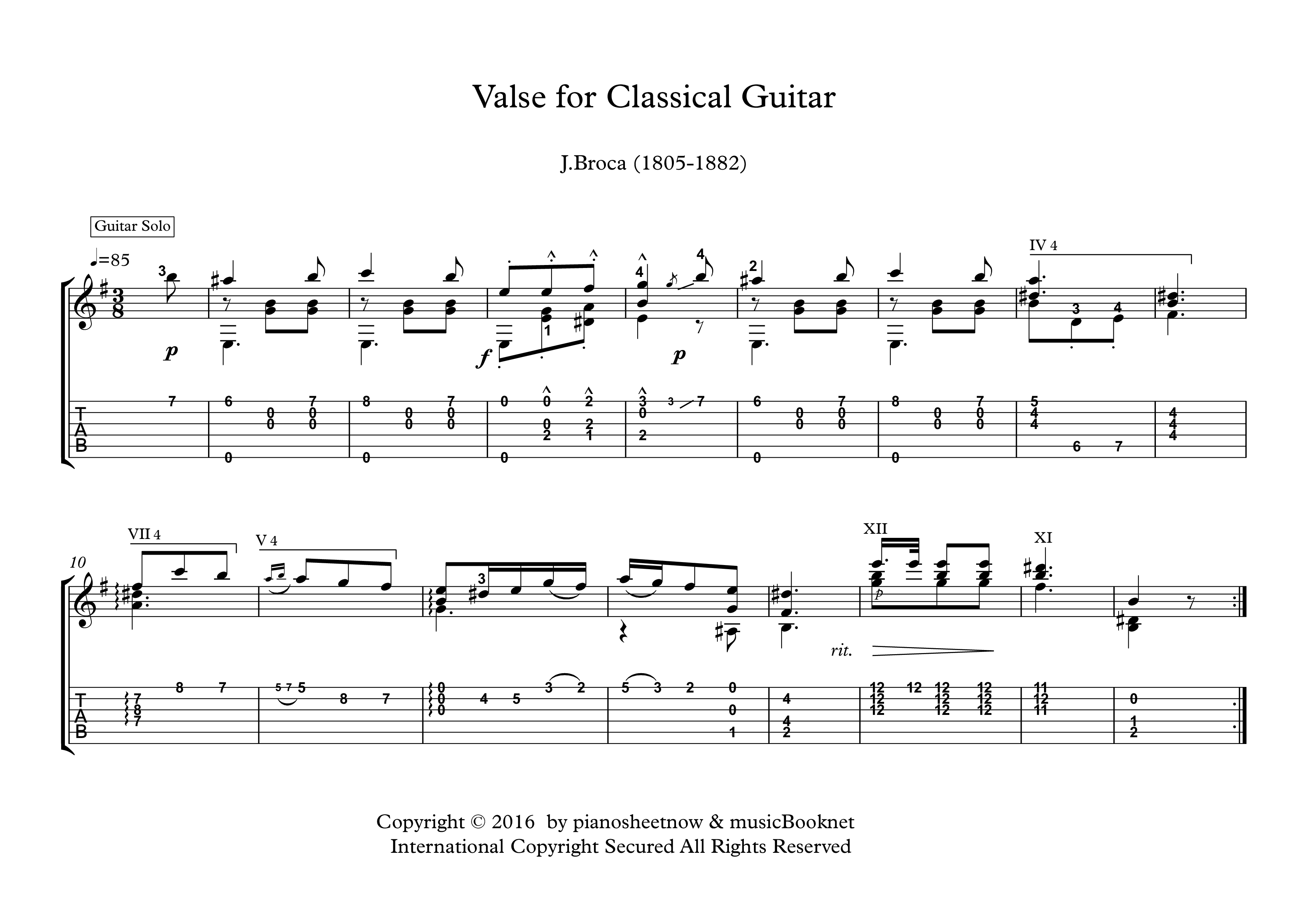 Valse for Classical Guitar solo sheet music A beautiful