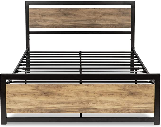 Amazon Com Allewie Full Size Platform Bed Frame With Wooden Headboard And Metal Slats Rustic Count Bed Frame And Headboard Bed Frame Mattress Wooden Headboard Full size wood bed frame