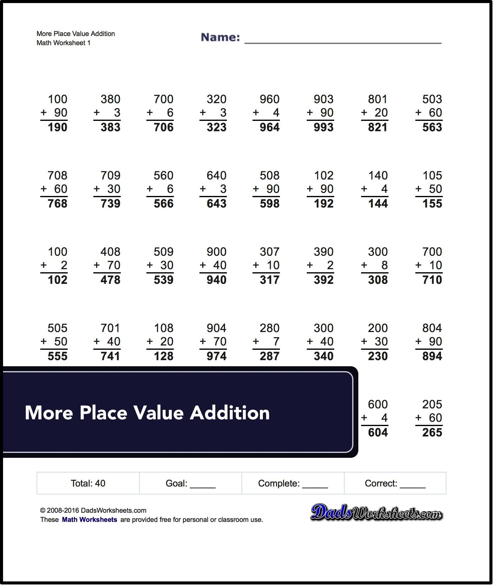 These Place Value Addition Sheets Are Good First Steps