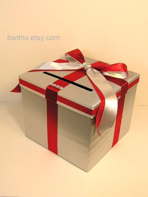 Silver+/Red+Wedding+Card+Box+Gift+Card+Box+Money+by+bwithustudio,+$60.00