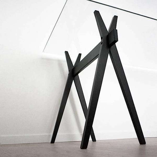 Adn Trestles Made In Solid Oiled Oak Black Beech Or Acrylic Glass Robba Edition Treteaux Deco Treteaux Design