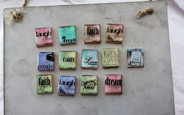 Inspiring words magnets Laugh, love, dream, faith, create, life, and more inspiring magnets. Covered with resin and attached to strong nobium magnets. Just a small sample of magnets in this collection.