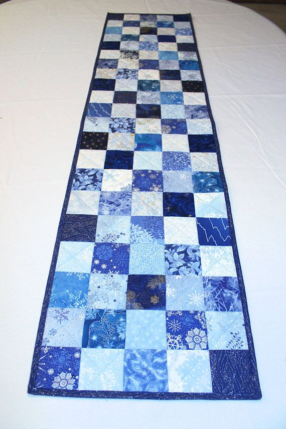 Quilted Christmas Table Runner Blue Silver White Snowflakes Xmas Table Runners Quilted Table Runners Christmas Table Runner