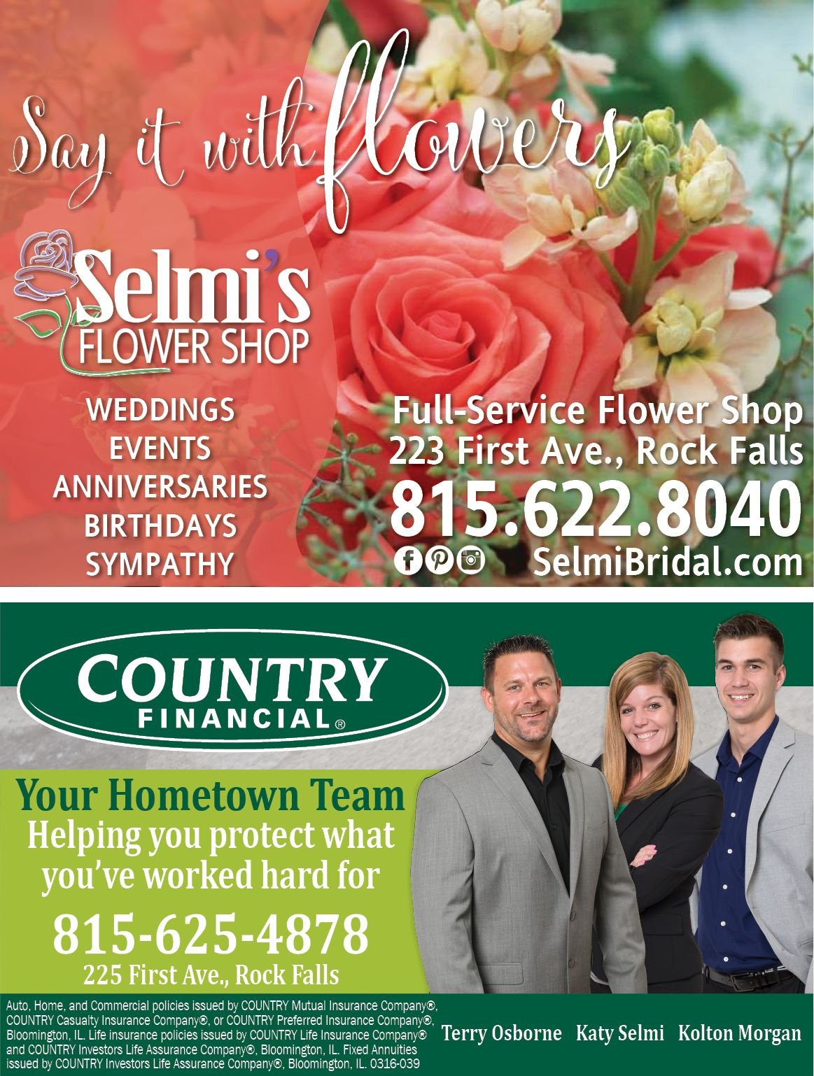 Double Advertisement For Selmi S Flower Shop Country Financial