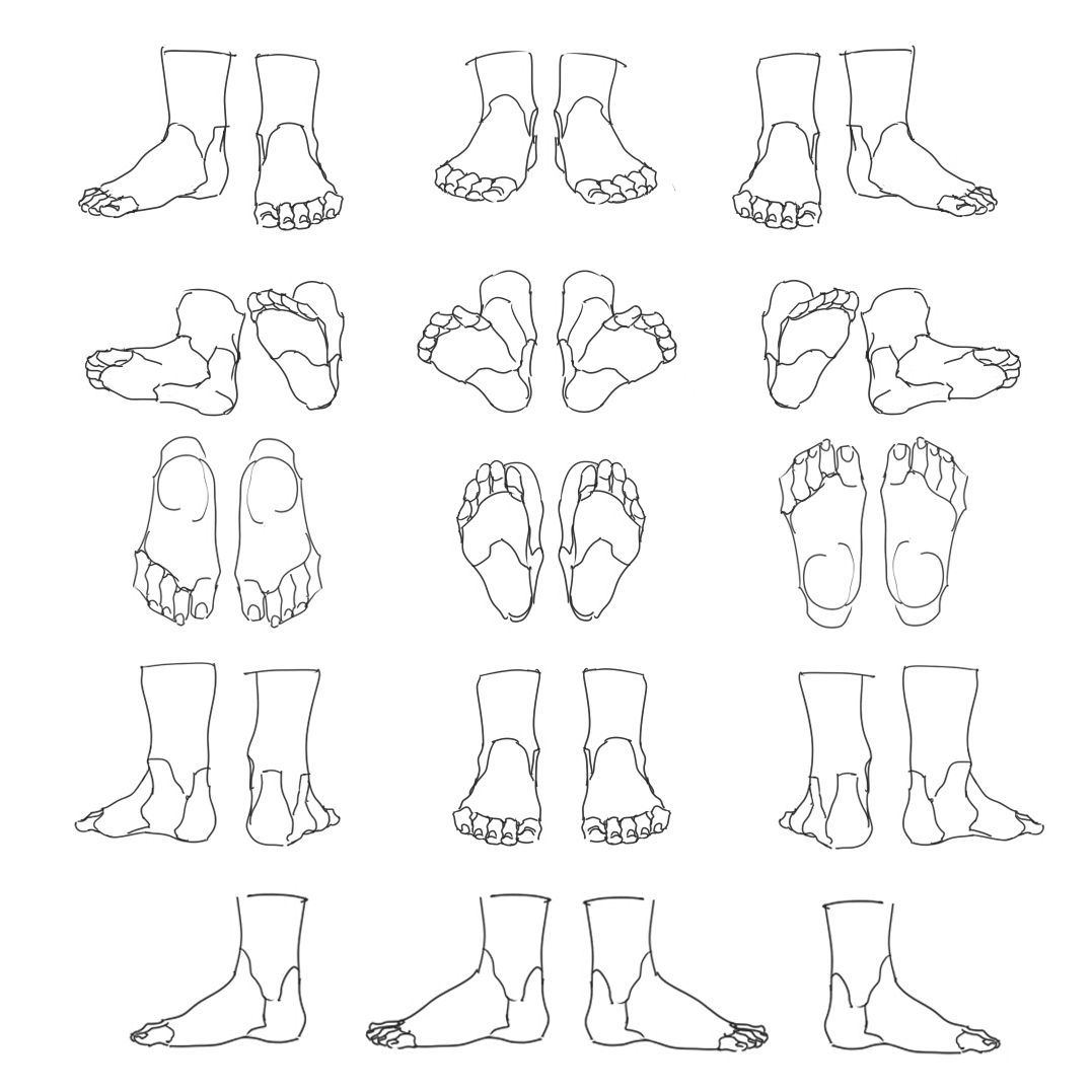 Feet Toes MovementRotationud Reference Sheet Art Drawing Tips by
