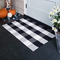 KaHouen Cotton Buffalo Plaid Rugs Buffalo Check Rug 23.6''x35.4'' Checkered Plaid Rug Check Plaid Area Rug for Layered Door Mats/Kitchen/Bathroom/Laundry Room (Black and White Porch Rugs)          Disclaimer: I am an Amazon associate and I will have a commission if you buy this product from the amazon website without any additional cost on you. #ad #affiliate #outdoor #doormats #homedecor