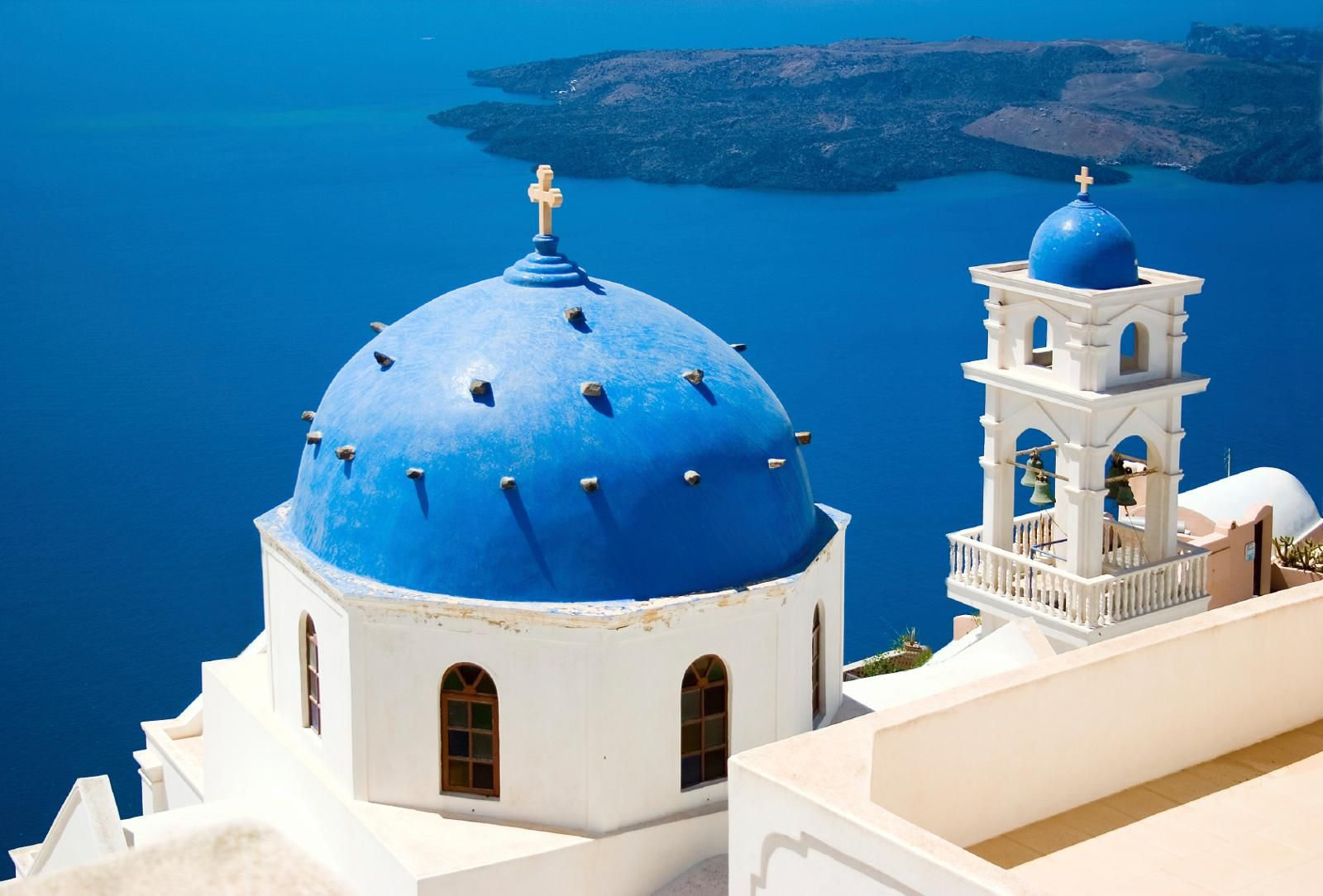 The famous blue of Greece - blue paint against blue sea backdrop ...