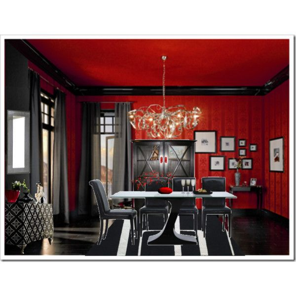Red And Black Dining Room