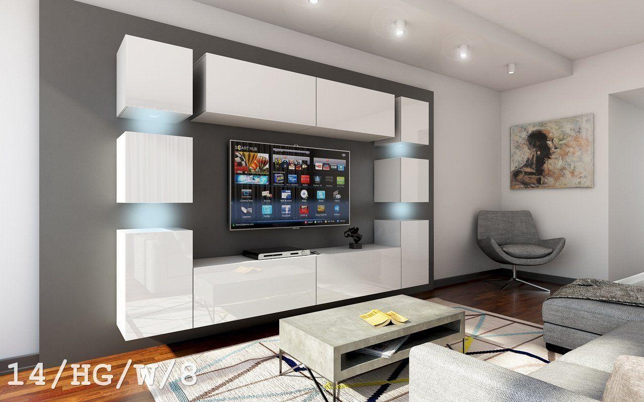 Wohndesign für 3 schlafzimmer future  wohnwand anbauwand wand schrank möbel tvschrank