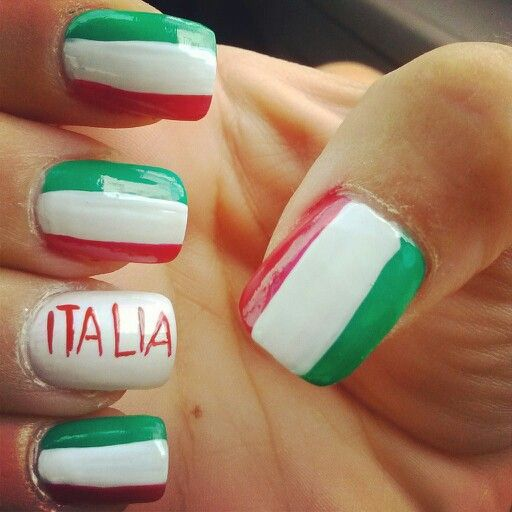 Italian Nails Nail Colors Pinterest Finger Nail Art Flag