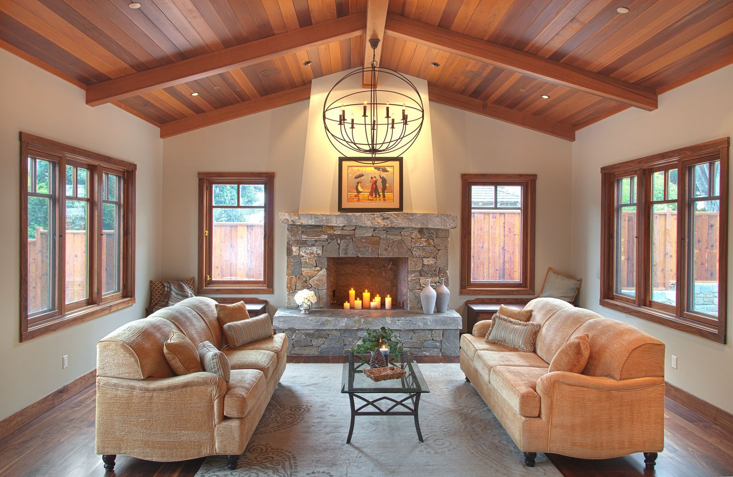 Tongue and groove Western red cedar ceiling. Blue schist firep ...