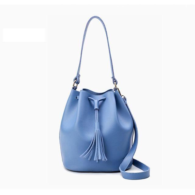 b3fd78f8df Fashion Small Bucket Bag Women Leather Shoulder Bag Candy Color Mini  Drawstring Handbag Pink Tassel Crossbody Bags Girl 2017 NEW