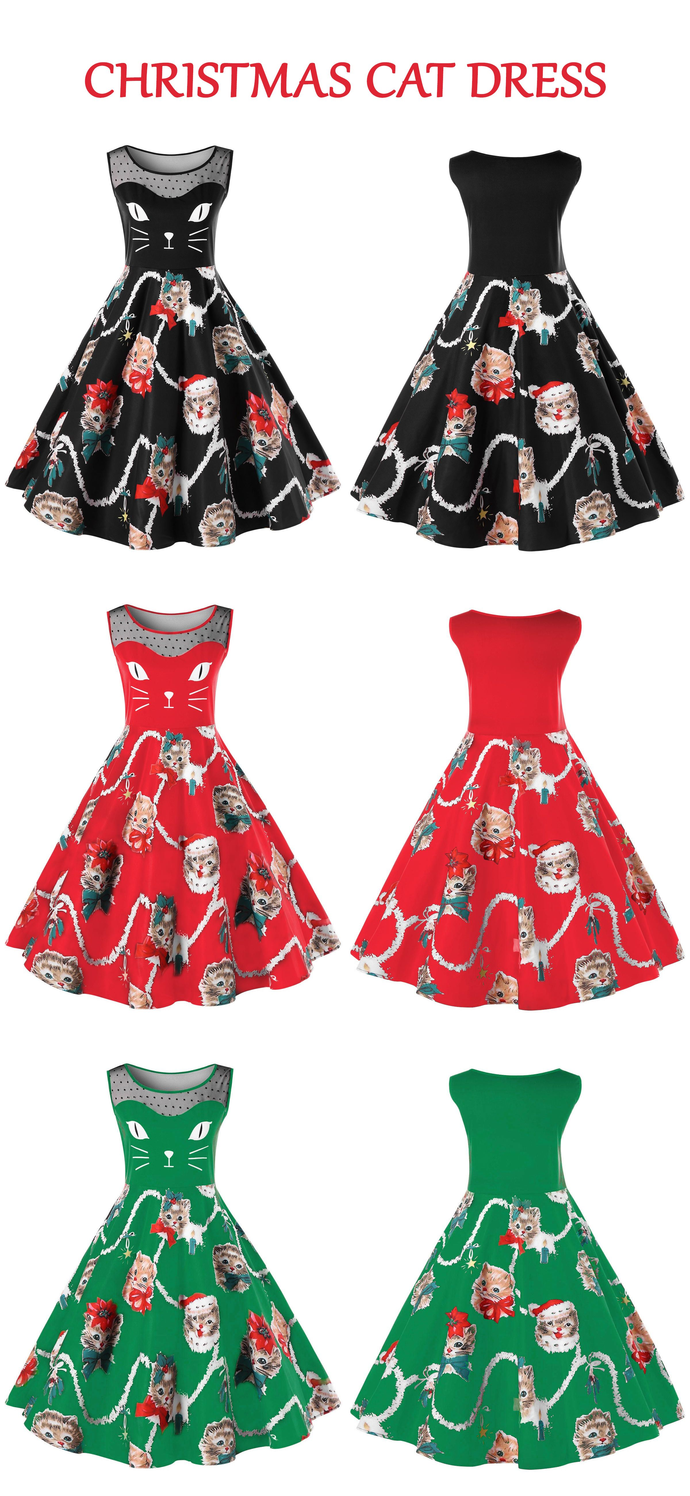 354cbb312ff4 $14.98,Christmas Plus Size Kitten Swing Dress-2XL | Rosewholesale,  Rosewholesale plus size, christmas dress, plus size, dress | #rosewholesale  #plussize ...