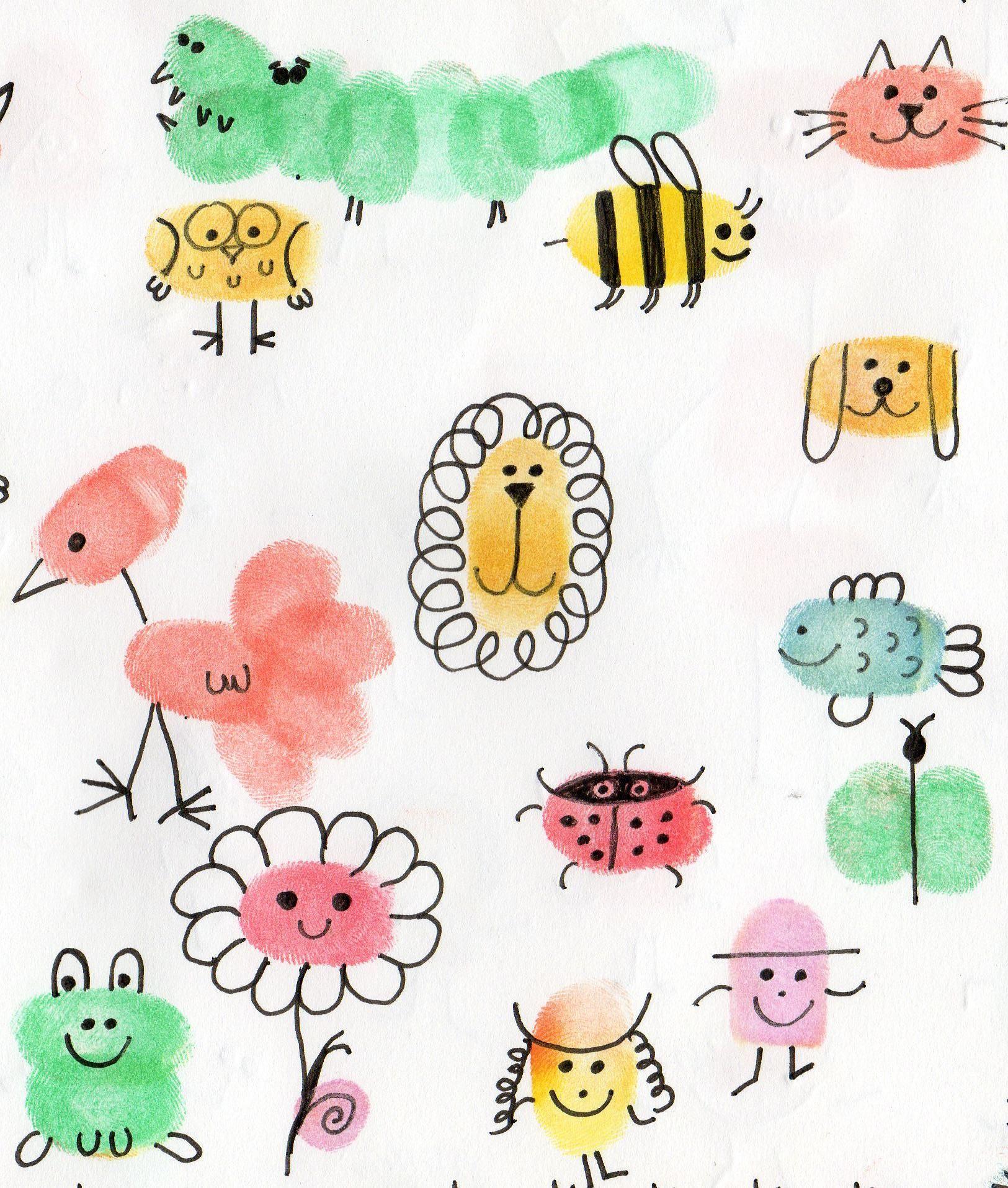 Les animaux avec les empreintes des doigts animaux - Dessin de doigt ...