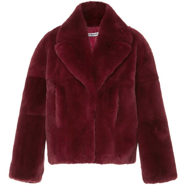0e690aeee6 Cacharel Fur Coat ($1,245) ❤ liked on Polyvore featuring outerwear, coats,  jackets, burgundy, bomber coats, cacharel, red fur coat, red coat and fur  coat