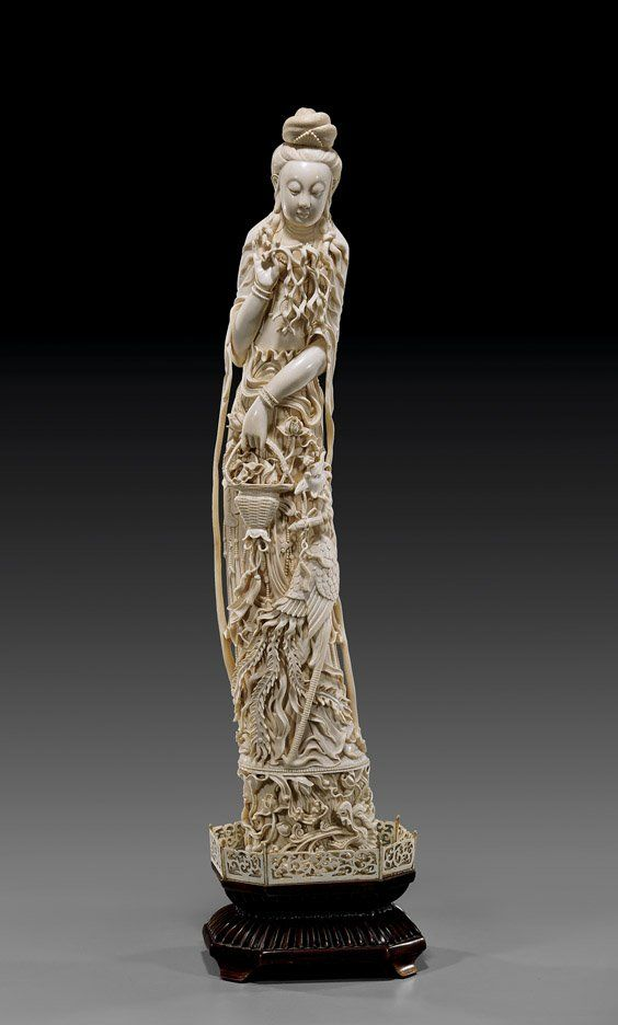 Antique chinese carved ivory guanyin in 2019   information   Guanyin