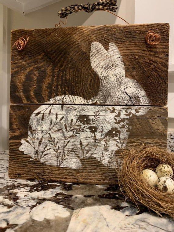 Rustic Barnwood Bunny, Spring, Sign