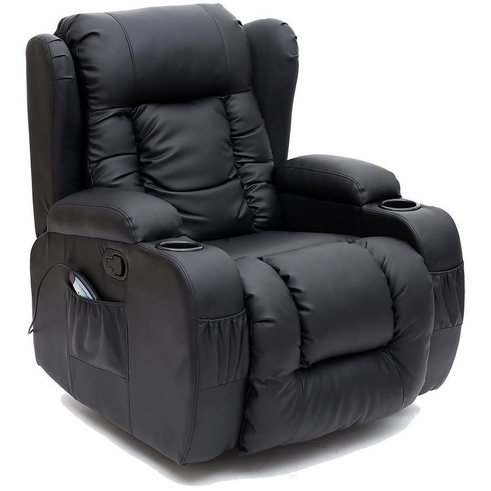 Caesar Black Winged Leather Recliner Chair Rocking Massage Swivel Heated Gaming In Home Furnitu Recliner Chair Leather Recliner Chair Cheap Dining Room Chairs