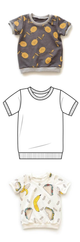 T-Shirt für Kinder - Freebook für Kurz- und Langarmshirts | Nähtalente #babykidclothesandideas