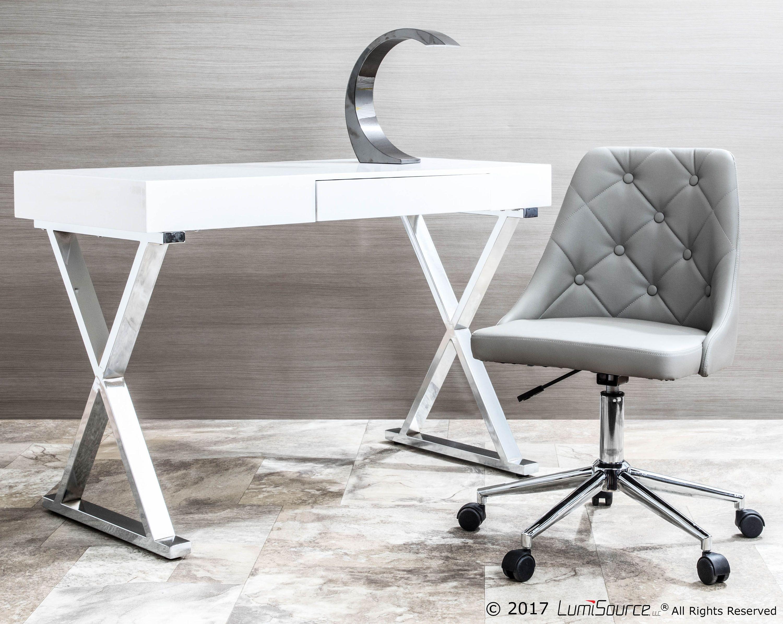 Gloss Finish Home Office Desk White In 2020 Contemporary Desk