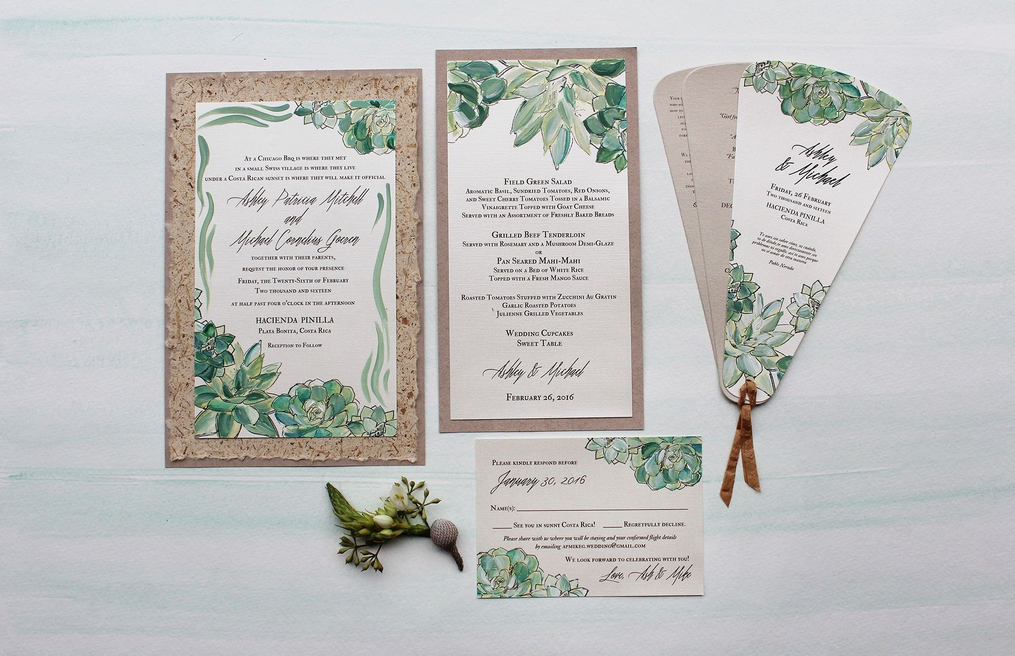 Botanical Watercolor Wedding Invitations   Watercolor succulents ...