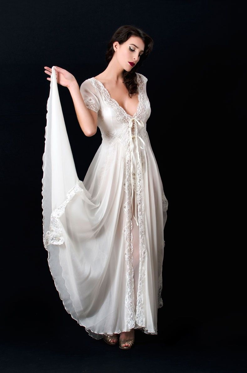 Liliana Casanova Rivoli Silk Lace Mousseline Long Dressing Gown ...